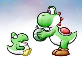 Big sibling Yoshi feeding Baby Yoshi by MiniDragonfly