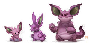 DAY 449. Kanto 032 - 033 - 034 by Cryptid-Creations