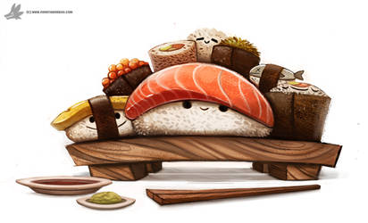 Day 830. Sushi Party by Cryptid-Creations