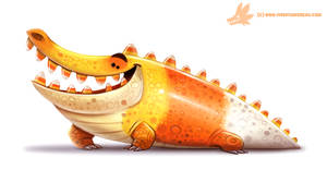 Daily Paint #1062. Crococorn by Cryptid-Creations