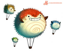 Daily Paint #1085. Pufferfish Air Balloons by Cryptid-Creations