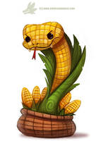 Daily Paint #1172. Corn on the Cobra by Cryptid-Creations