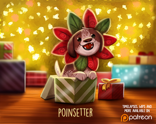 Daily Paint 1487. Poinsettier by Cryptid-Creations