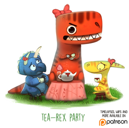 Daily Paint 1497. Tea-Rex Party by Cryptid-Creations
