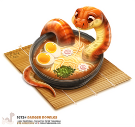 Daily Painting 1673# Danger Noodles by Cryptid-Creations
