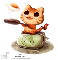 Daily Painting 1714# Toast Cat by Cryptid-Creations
