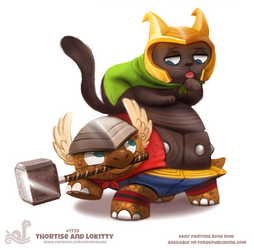 Daily Painting 1739# Thortise and Lokitty by Cryptid-Creations