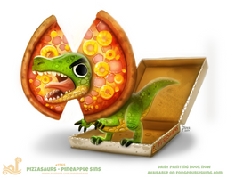 Daily Paint 1765# Pizzasaurus - Pineapple Sins by Cryptid-Creations