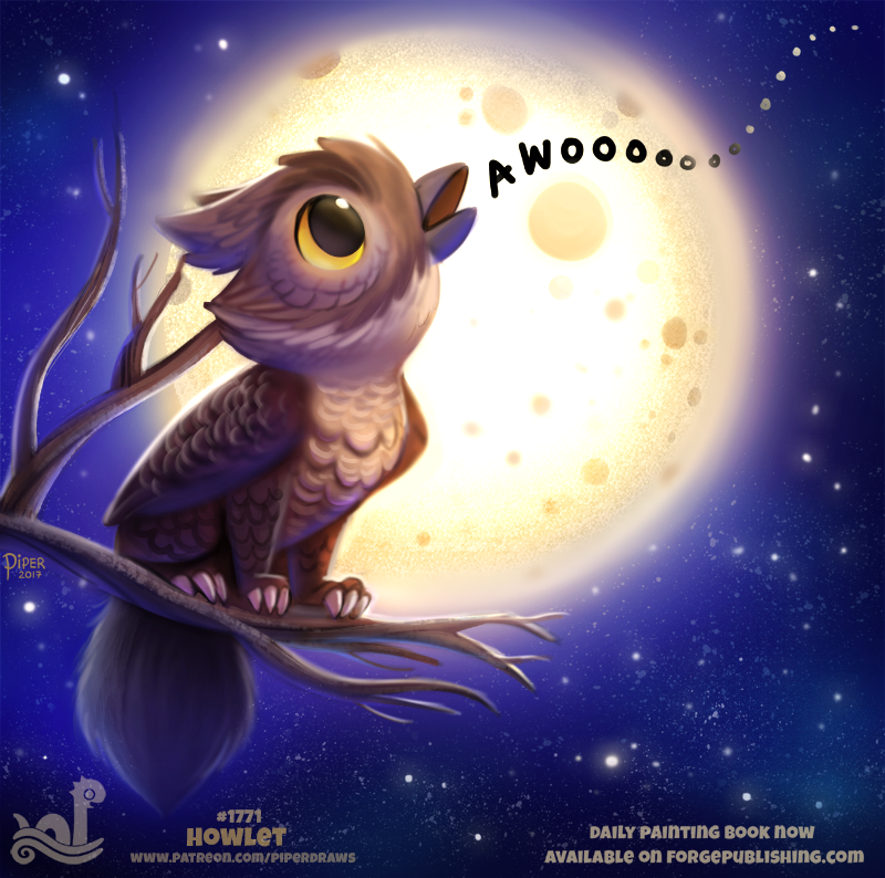 Daily Paint 1771# Howlet by Cryptid-Creations