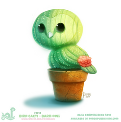 Daily Paint 1812# Bird Cacti - Barn Owl by Cryptid-Creations