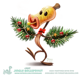 Daily Paint 1847# Jingle Bellsprout by Cryptid-Creations