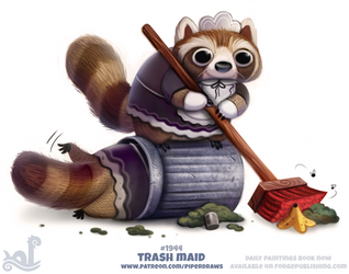 Daily Paint 1944# Trash Maid by Cryptid-Creations