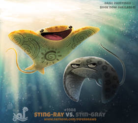 Daily Paint 1988# Sting-Ray vs. Stin-Gray by Cryptid-Creations