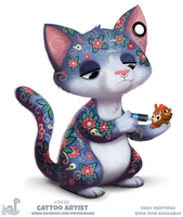 Daily Paint 2028# Cattoo Artist by Cryptid-Creations