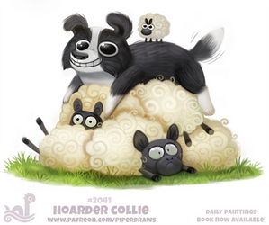 Daily Paint 2041# Hoarder Collie by Cryptid-Creations