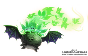 Daily Paint 2094. Cauldron of Bats by Cryptid-Creations