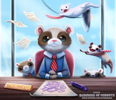 Daily Paint 2096. Business of Ferrets by Cryptid-Creations