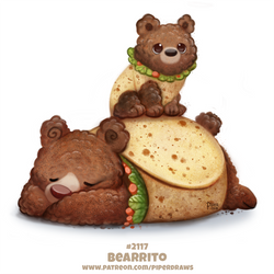 Daily Paint 2117. Bearrito by Cryptid-Creations
