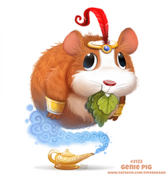 Daily Paint 2133. Genie Pig by Cryptid-Creations