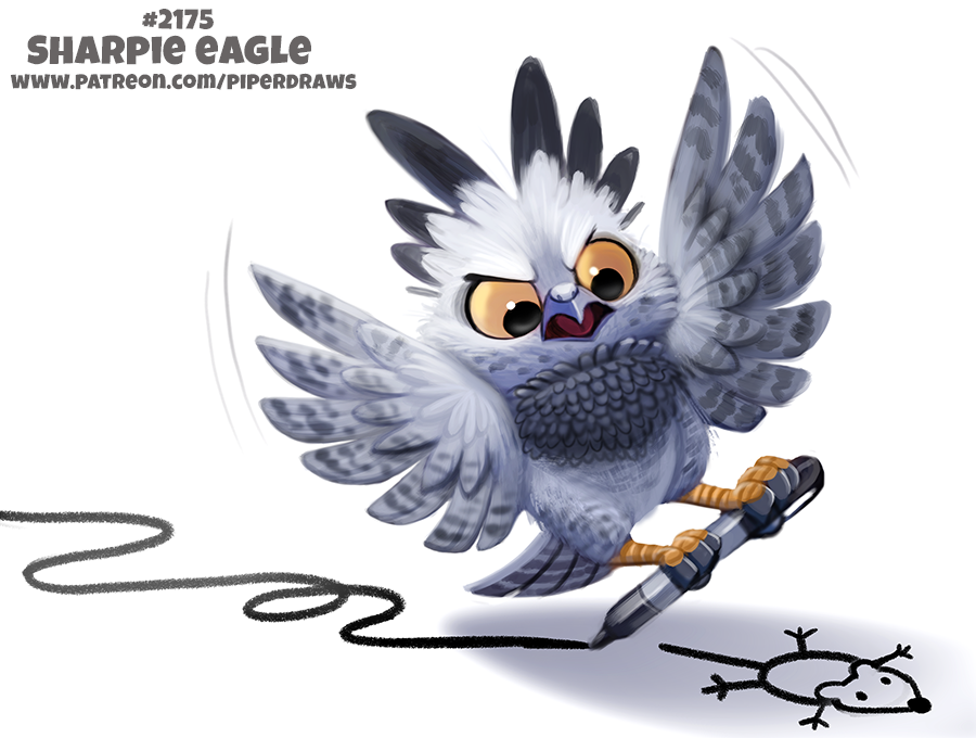 Daily Paint 2175. Sharpie Eagle by Cryptid-Creations