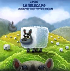 Daily Paint 2188. Lambscape by Cryptid-Creations