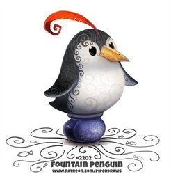 Daily Paint 2202. Fountain Penguin by Cryptid-Creations
