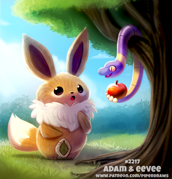 Daily Paint 2217. Adam and Eevee by Cryptid-Creations