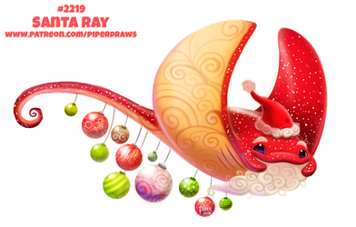 Daily Paint 2222. Santa Ray by Cryptid-Creations