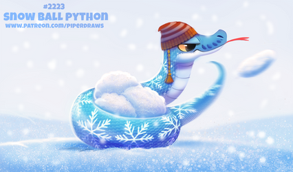 Daily Paint 2223. Snow Ball Python by Cryptid-Creations