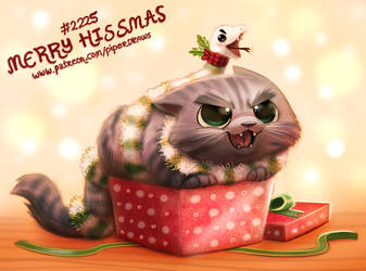Daily Paint 2225. Merry Hissmas by Cryptid-Creations