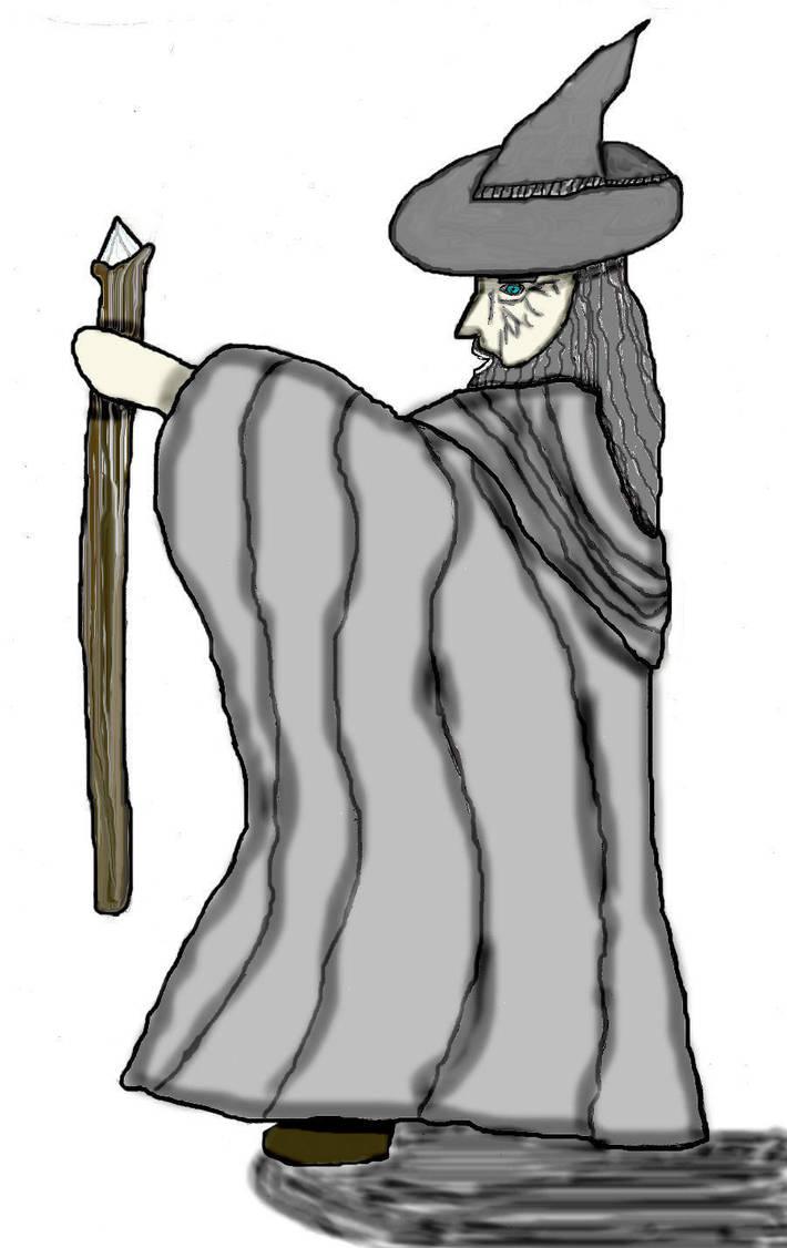 Chibi Gandalf lineart colored by princess88alasse