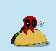 Deadpool and tacos by SpidergirlXD