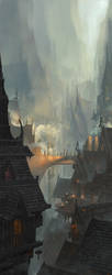Medieval Cave City Concept art by linweichen