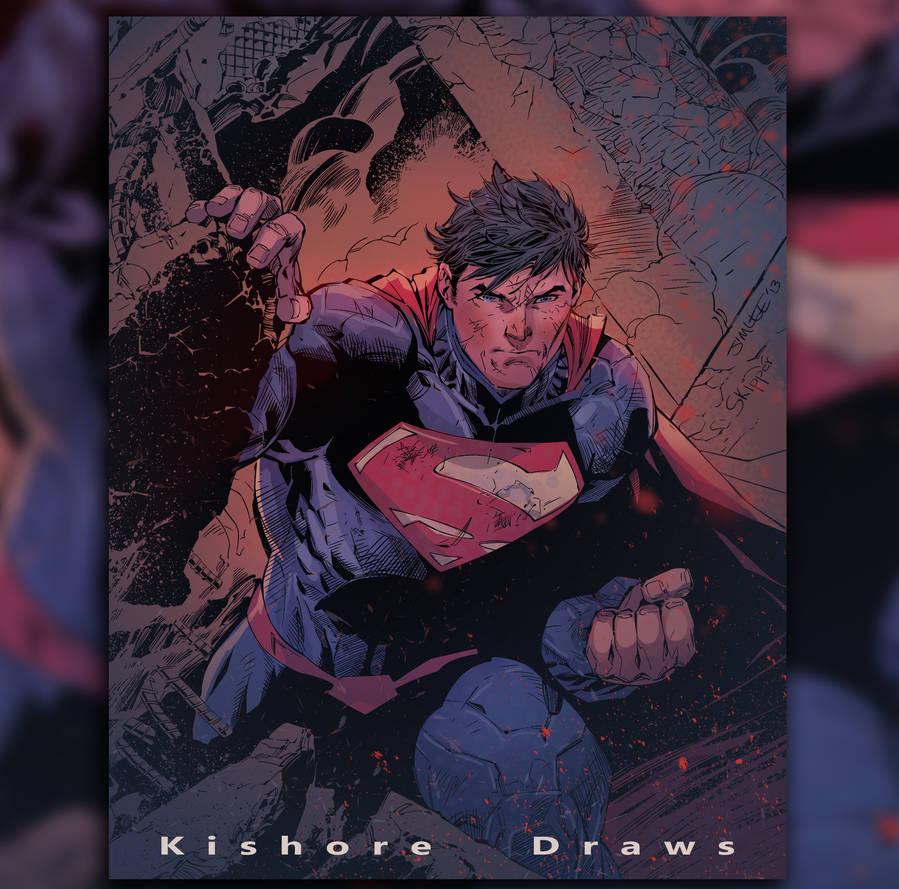 Superman practice colours by KishoreDraws