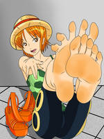 sweaty feet nami after the efforts to Arlong park by gaara3107