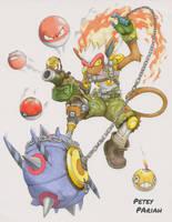 Pokemon X Overwatch: Infernape X Junkrat by PeteyPariah