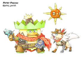Pokemon X Overwatch: Ludicolo/Lycanroc X McCree by PeteyPariah