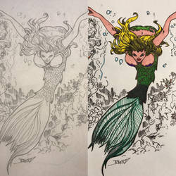 Before and After: Mermaid #1 by Phantomheero