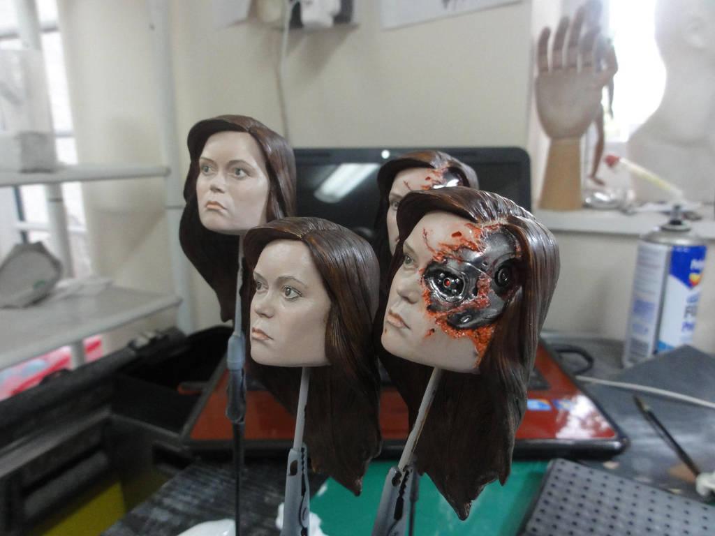 Summer Glau Terminator Heads paintup in progress by Mutronics