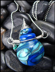 Navi - Lampwork Glass Bottle Pendant by andromeda