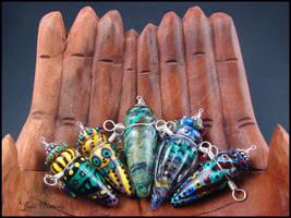 Glass Lampwork Vessels - Perfume Bottle Pendants by andromeda