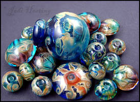 Glass Lampwork Beads and Bottle by andromeda