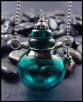Delphin - Lampwork Glass Bottle Pendant by andromeda