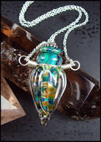 Demeter - Lampwork Glass Bottle Vessel Necklace by andromeda