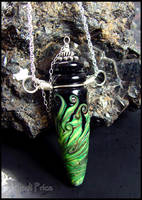 Emerald Fire - Glass Bottle Pendant by andromeda