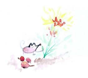 Szczurek i kwiatek by JaBoJa