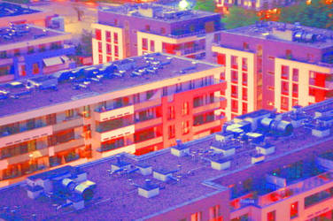 Blocks of flats shifted into reds and purples by JaBoJa