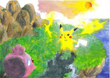 Pikachu vs. Igglybuff by Witbik
