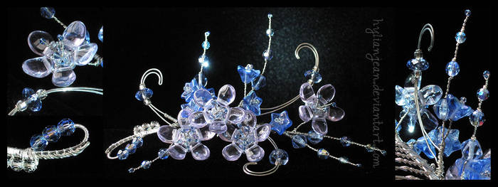 Blue Floral Bridal Comb by HylianJean