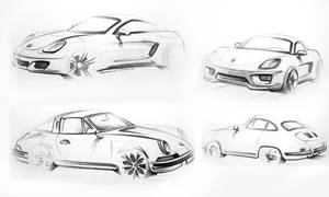 Porsche sketches by LoccoRico